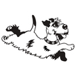 Happy dog black white vector
