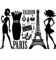 Fashionable set with silhouettes of women vector