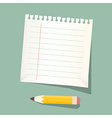 Retro empty white paper sheet with pencil vector