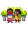 Two black kids eating vector