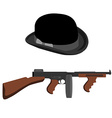 Tommy gun and bowler hat vector