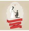 Vintage wedding invitation with bride and groom vector