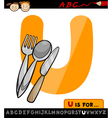 Letter u with utensils cartoon vector