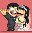 Cartoon of wedding bride groom vector