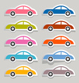 Colorful paper cars set vector