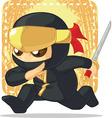Cartoon of ninja holding japanese sword vector