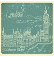 London doodles drawing landscape in vintage style vector