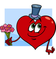 Valentine heart with flowers cartoon vector