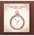 Old vintage pocket watch card vector