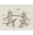Hand drawn tower bridge vector
