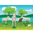 Goat and green lawn2 vector