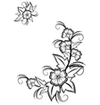 Abstract black and white floral corner vector
