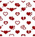 Set of red valentine hearth love symbols seamless vector