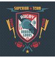 College sport emblem rugby team vector