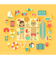 Beach vacation icons vector