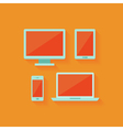 Flat computer and mobile devices set over orange vector
