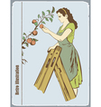 The woman gathers apples vector