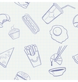 Food and drink hand drawn seamless pattern vector
