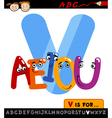 Letter v with vowels cartoon vector