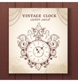 Old vintage wall clock card vector