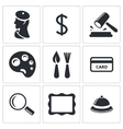 Museum auction sale icon set vector