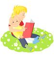 Boys is reading a book vector