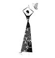 Fashion girl silhouette in wedding dress vector