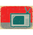 Retro television grunge symbol on old poster vector