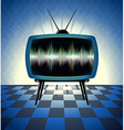 Retro tv receiver in the dark room vector