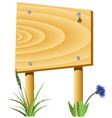 Wooden board grass and a flower vector