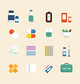 Flat icons set of medical health care design vector