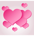 Pink valentine hearths from paper decoration vector