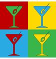 Pop art martini glass icons vector