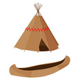 Brown canoe and wigwam vector