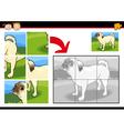 Cartoon dog jigsaw puzzle game vector