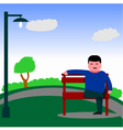 Man sitting on the bench vector