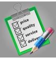 Blue pencil and green checklist vector