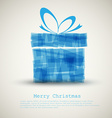 Simple christmas card with a blue gift vector