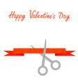 Scissors cut decorative red ribbon valentines day vector
