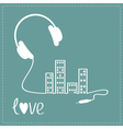 Headphones cord in shape of equalizer building vector
