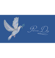 Sketch style peace dove symbol blue background vector