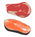 Beef and salmon steak vector