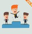 Cartoon business man on winner podium - - ep vector