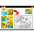 Cartoon monster jigsaw puzzle game vector