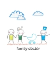 Family doctor treats the father mother and baby vector