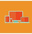 Flat technology devices set over orange vector