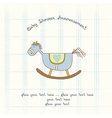 Baby shower card with wood horse vector