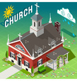 Isometric rural church building vector