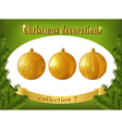 Christmas decorations collection of gold glass vector