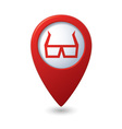 3d cinema glasses icon red pointer vector